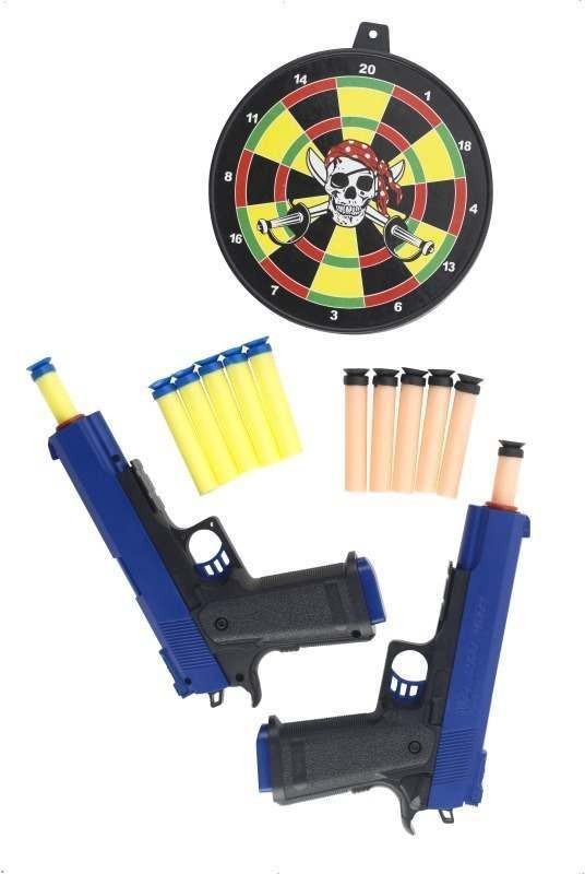 Detective Guns Double Pack, 12 Foam Darts And Target (Cops/Robbers Fancy Dress)