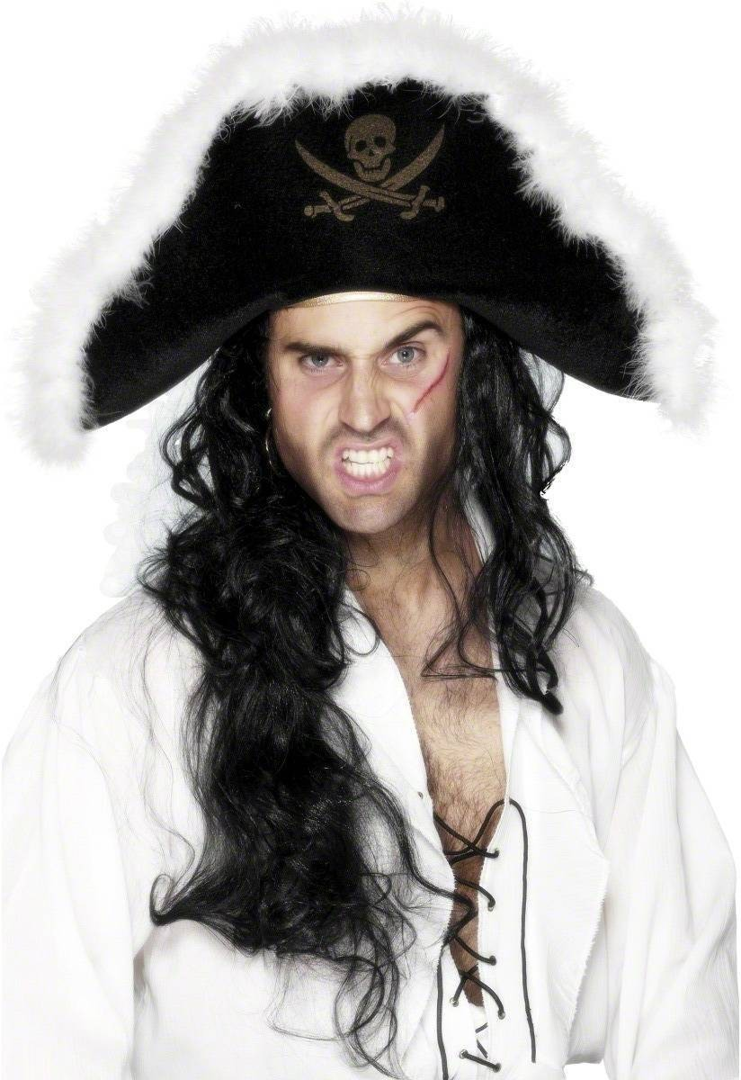 Marabou Pirate Hat - Fancy Dress Mens (Pirates)