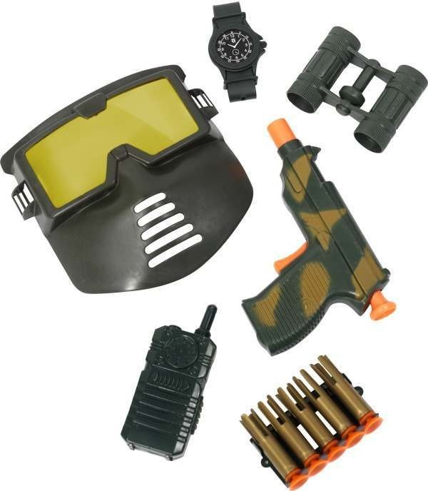 Military Peace Keepers Gun And Bullet Set (Army Fancy Dress Guns)