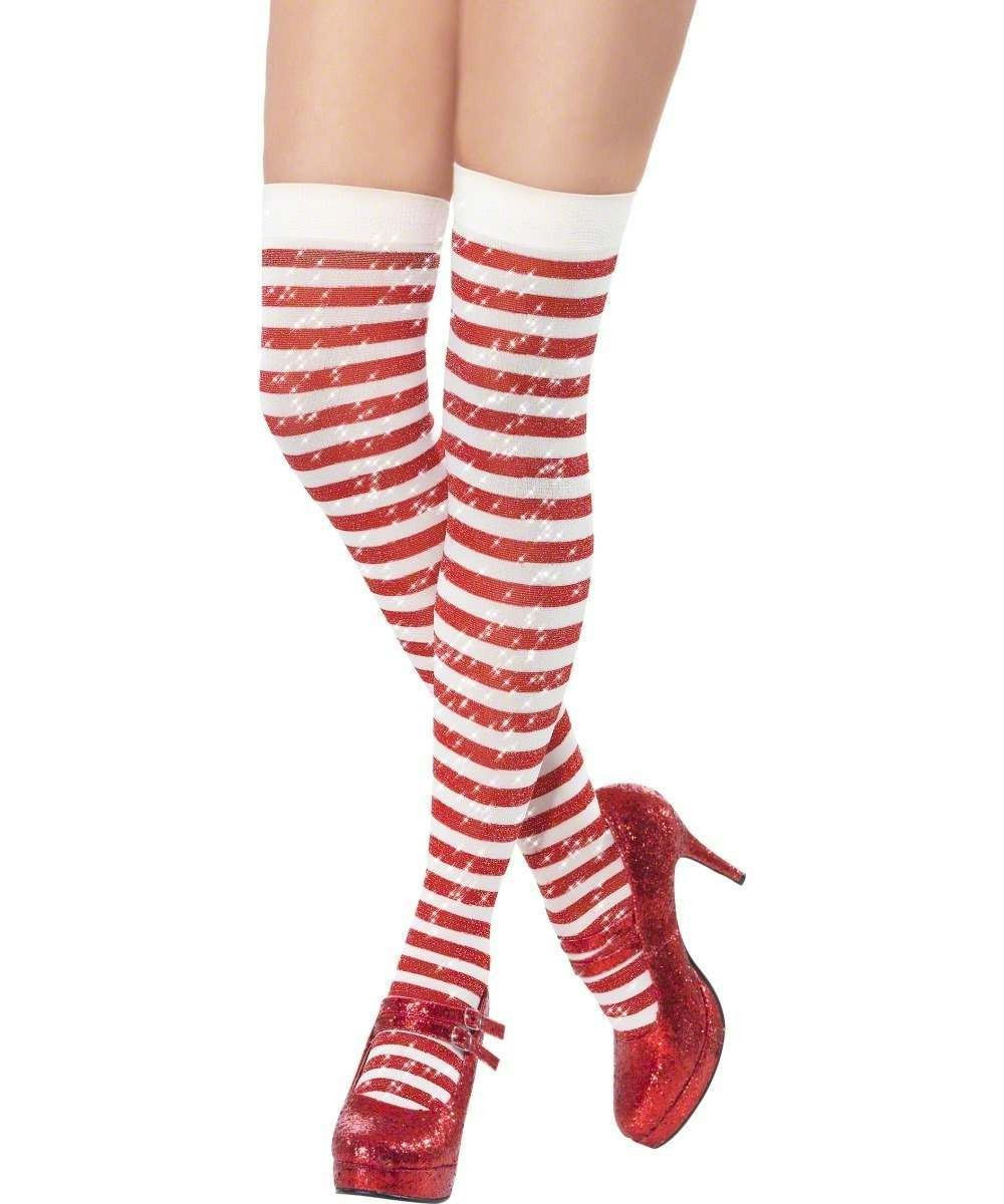 Sparkle Thigh High Stockings With Lurex, Red And White