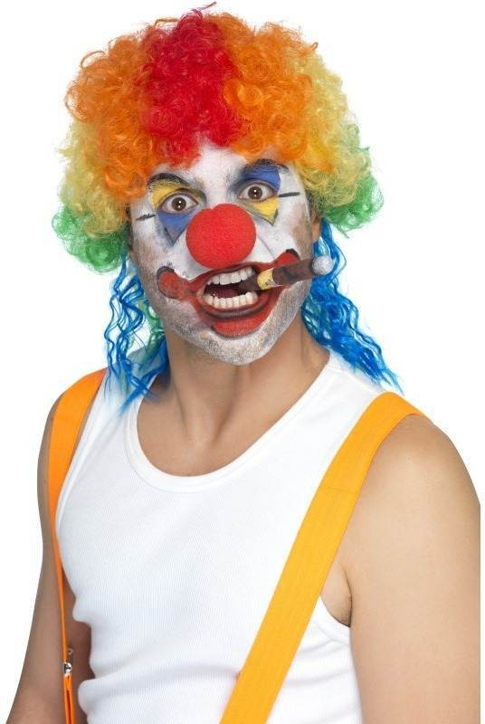Clueless The Clown Wig (Clowns Fancy Dress Wigs) - Rainbow