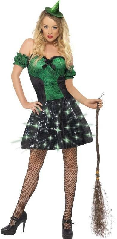 Fever Wicked Witch Light Up Fancy Dress Costume