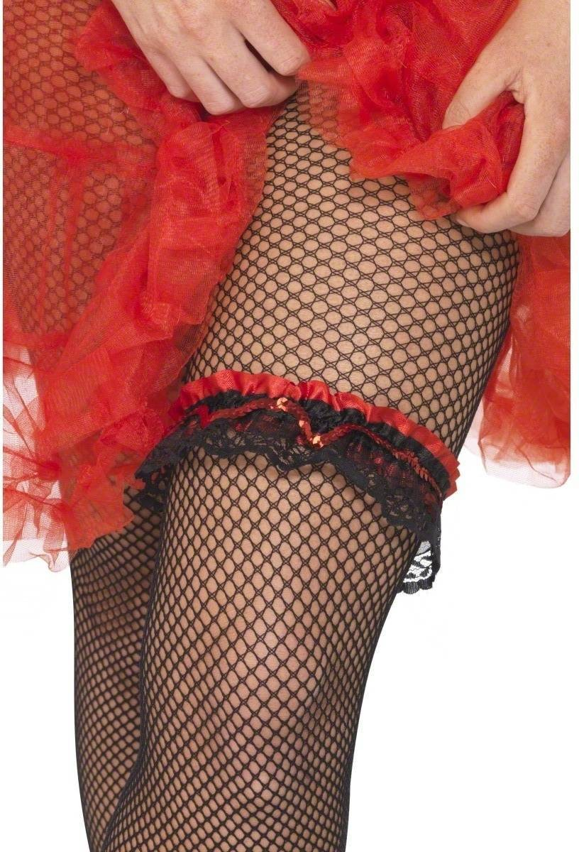 Elasticated Red And Black Lace Garter - Fancy Dress (1920S)