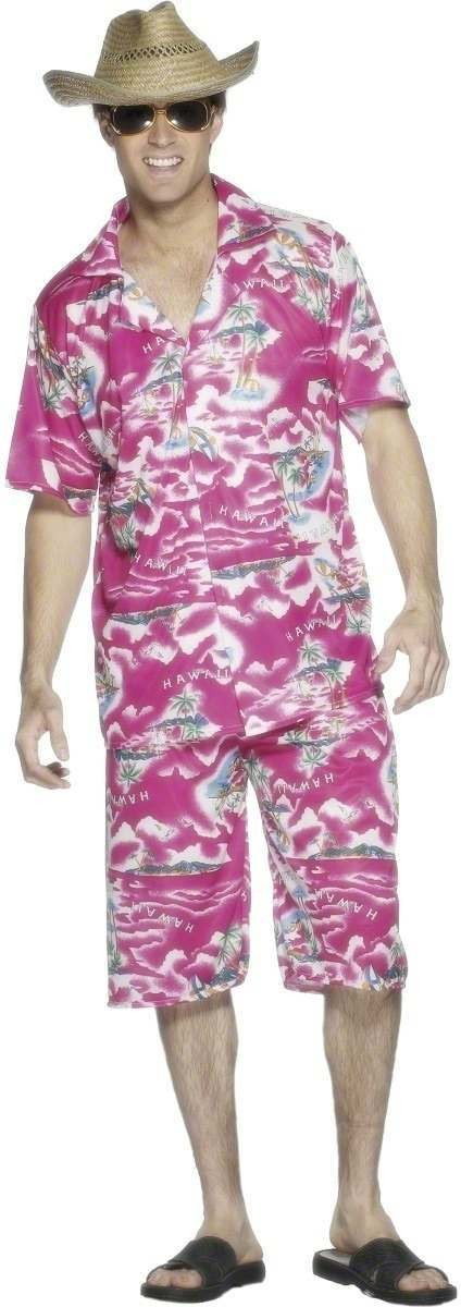Hawaiian Shirt And Shorts Set Fancy Dress Costume Mens (Hawaiian)