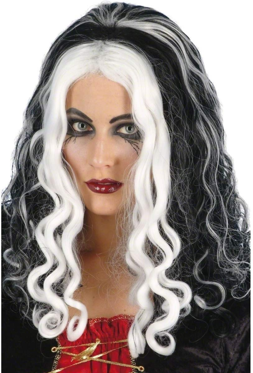 Witch Queen Wig - Fancy Dress Ladies (Halloween) - Black/White