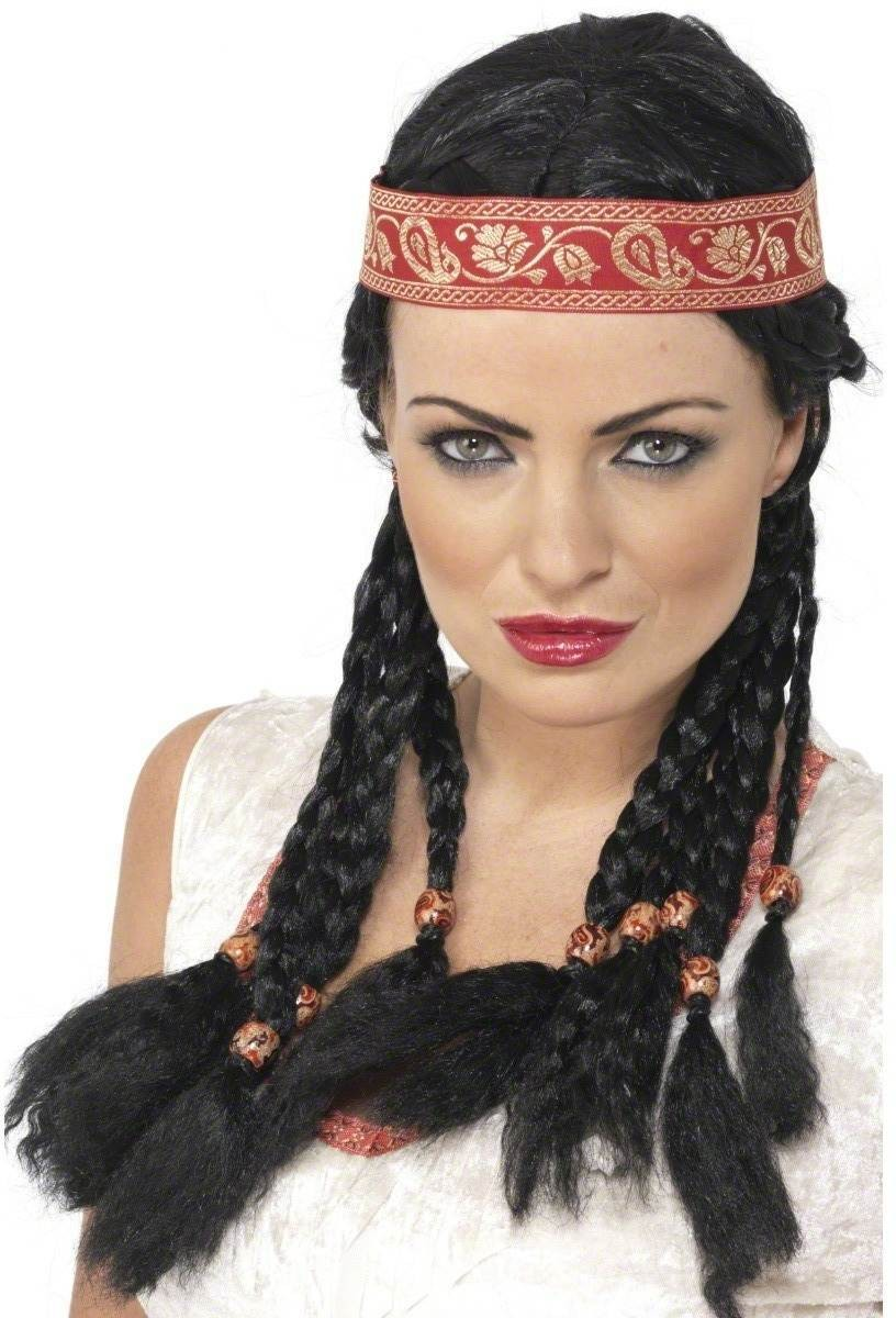 Pocahontas Wig - Fancy Dress Ladies (Cowboys/Indians) - Black
