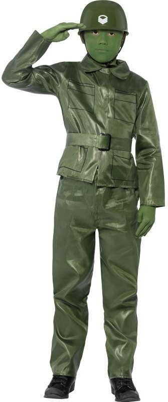 Boys Green Toy Soldier Fancy Dress Costume