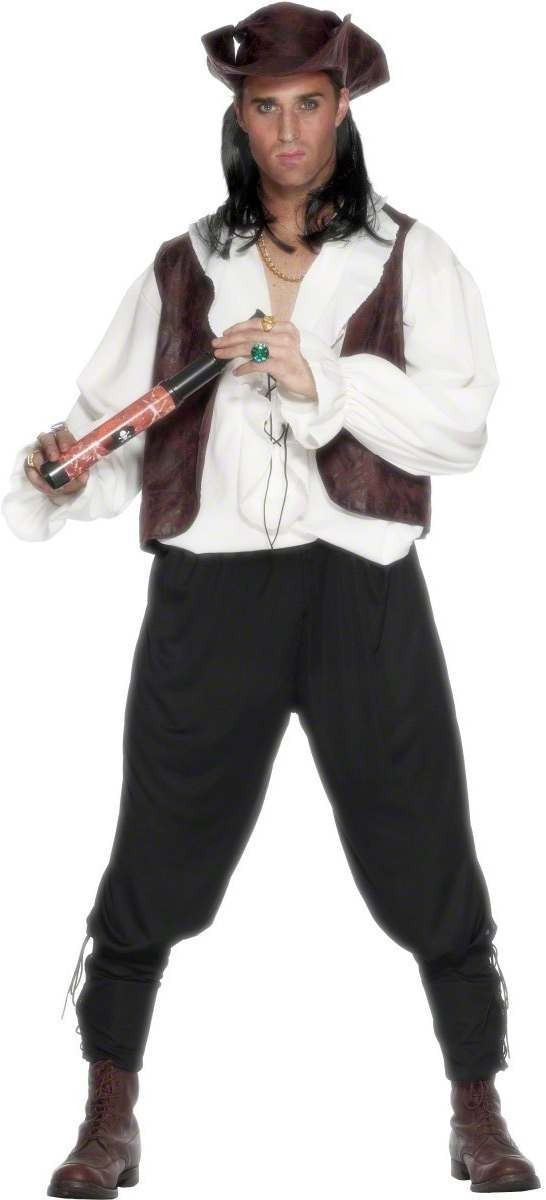 Deluxe Pirate Man Fancy Dress Costume Mens (Pirates)