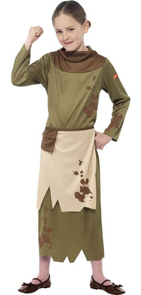 Girls Green Horrible Histories Revolting Peasant Fancy Dress Costume