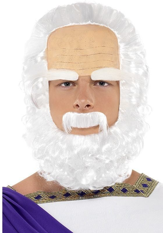 Socrates Wig, Beard And Eyebrow Set (Legends/Myths Fancy Dress Wigs) - White