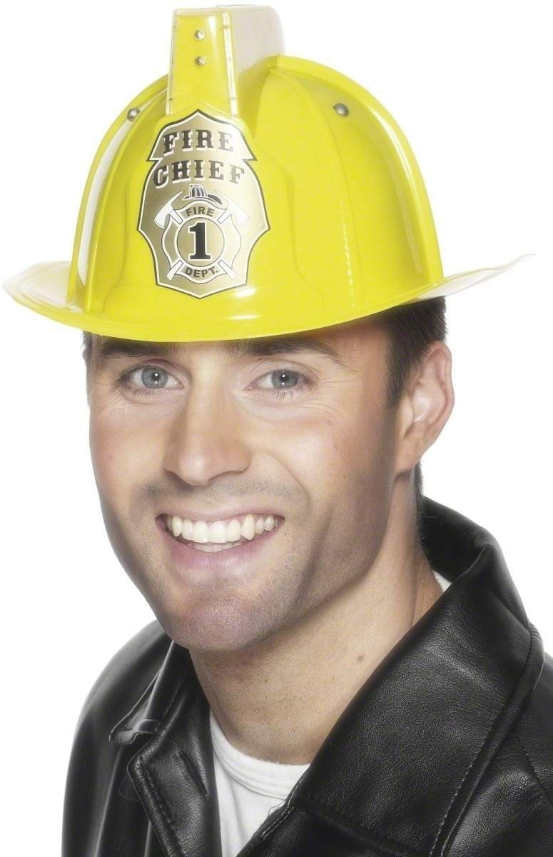 Flashing Fireman'S Helmet - Fancy Dress Mens (Fire Service)