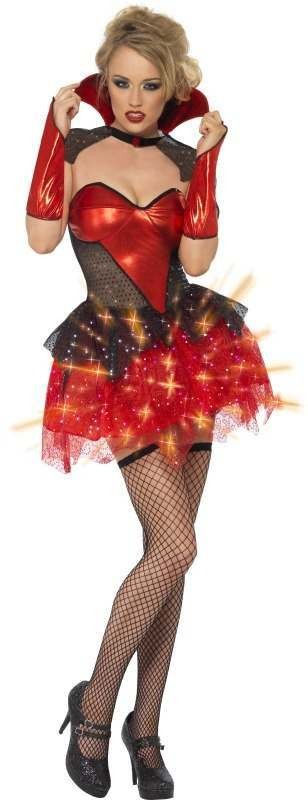 Fever All That Glitters Light Up Vamp Gloss Fancy Dress Costume