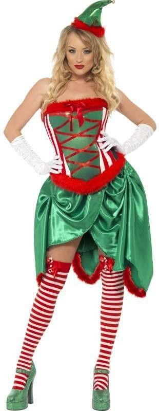 Fever Elf Burlesque Fancy Dress Costume