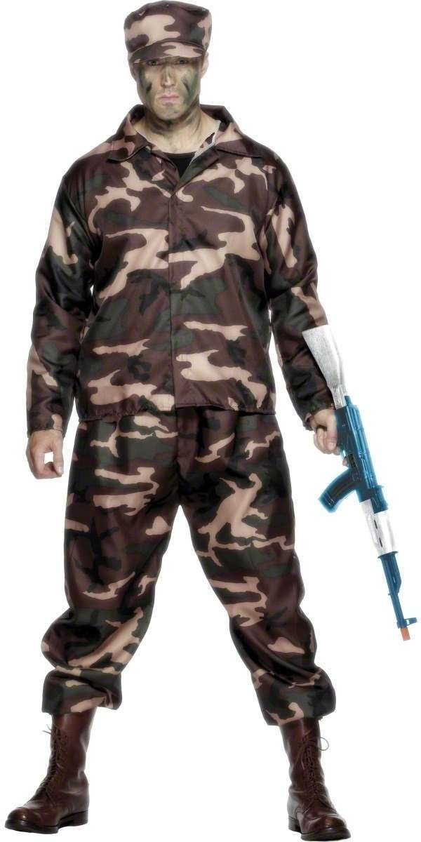 Army Soldier Fancy Dress Costume Mens (Army)