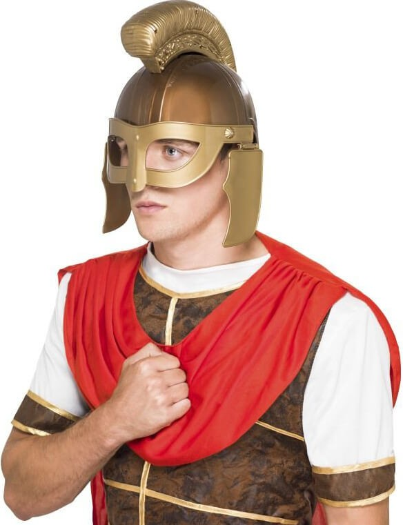 Mens Gold Plastic Roman Centurion Helmet Fancy Dress Accessory