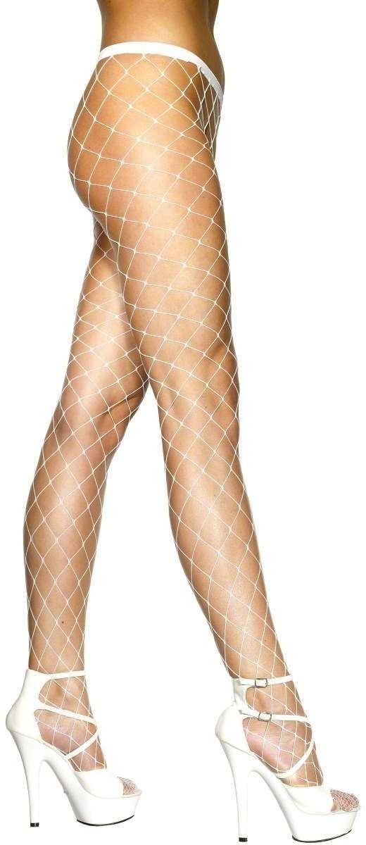 Diamond Net Tights White - Fancy Dress Ladies