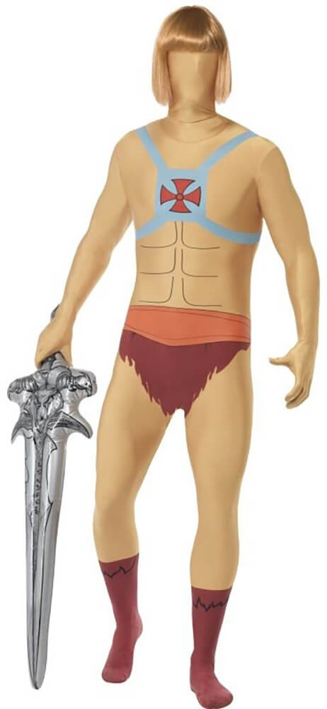 Mens He-Man Second Skin & Inflatable Sword Fancy Dress Costume