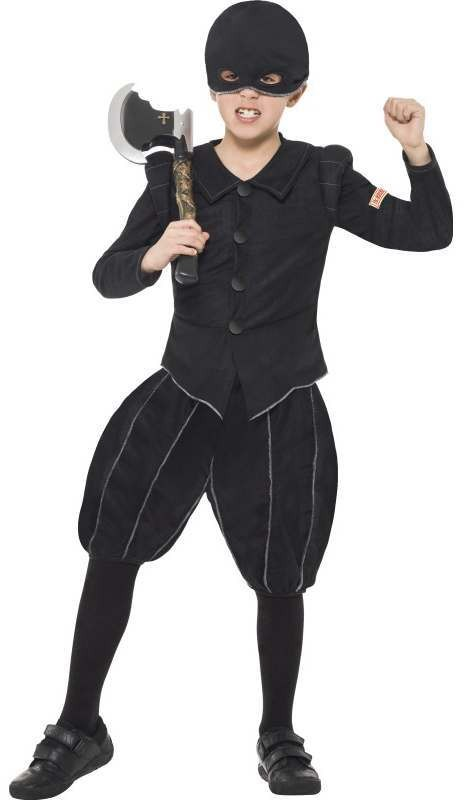 Boys Black Horrible Histories Tudor Executioner Fancy Dress Costume