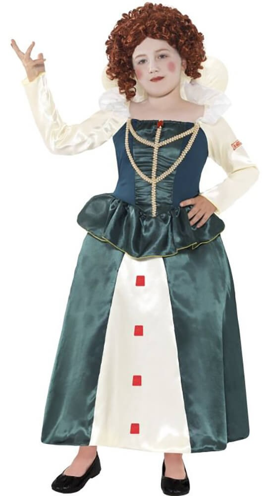 Girls Green Horrible Histories Queen Elizabeth I Fancy Dress Costume