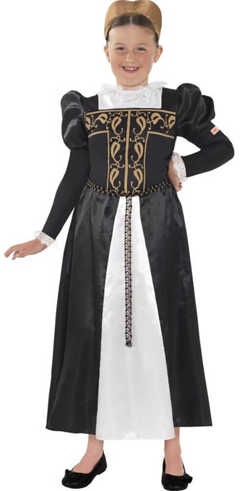 Girls Black Horrible Histories Mary Queen Of Scots Fancy Dress Costume