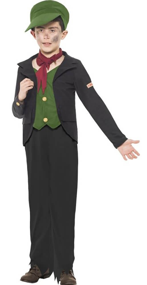 Boys Black Horrible Histories Chimney Sweep Fancy Dress Costume