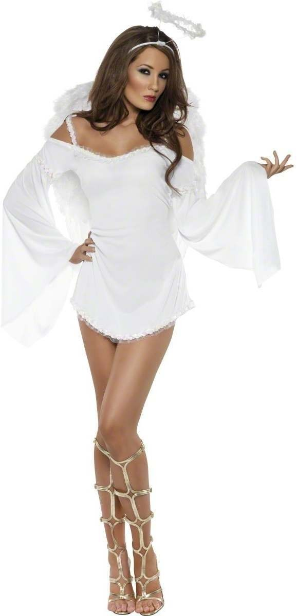 Fever Angel Costume-Large Fancy Dress Costume Ladies (Sexy)