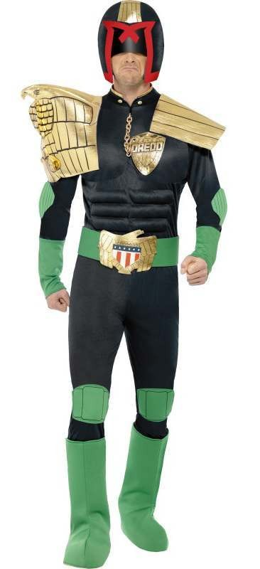 Men'S Official Judge Dredd Fancy Dress Costume