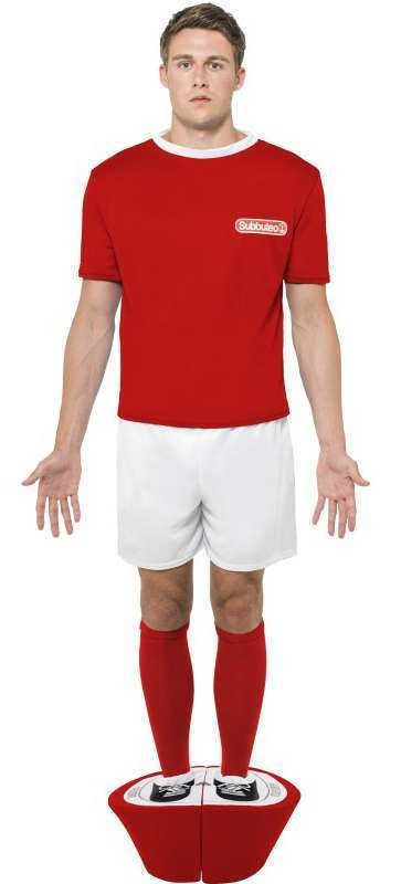 Men'S Official Red Strip Subbuteo Football Player Fancy Dress Costume