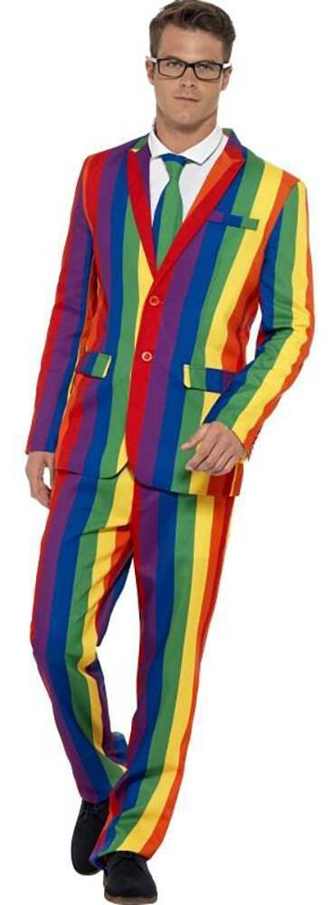 Mens Over The Rainbow Stand Out Suit Fancy Dress Costume