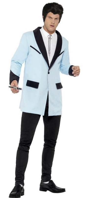 Men'S Baby Blue 50'S Teddy Boy Jacket Fancy Dress Costume