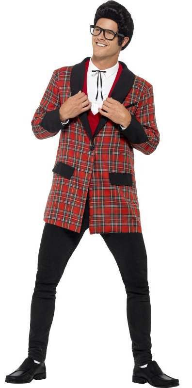 Men'S Red Plaid 50'S Teddy Boy Fancy Dress Costume