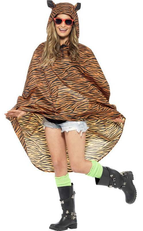 Adult Unisex Tiger Party/Festival Poncho Fancy Dress Costume