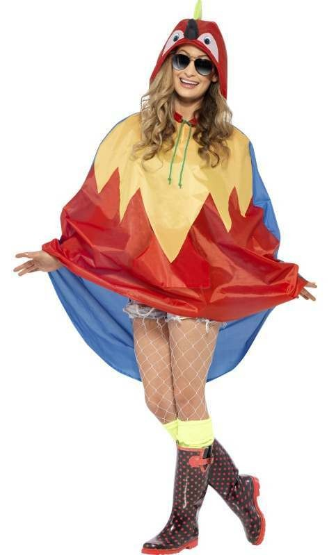 Adult Unisex Parrot Party/Festival Poncho Fancy Dress Costume