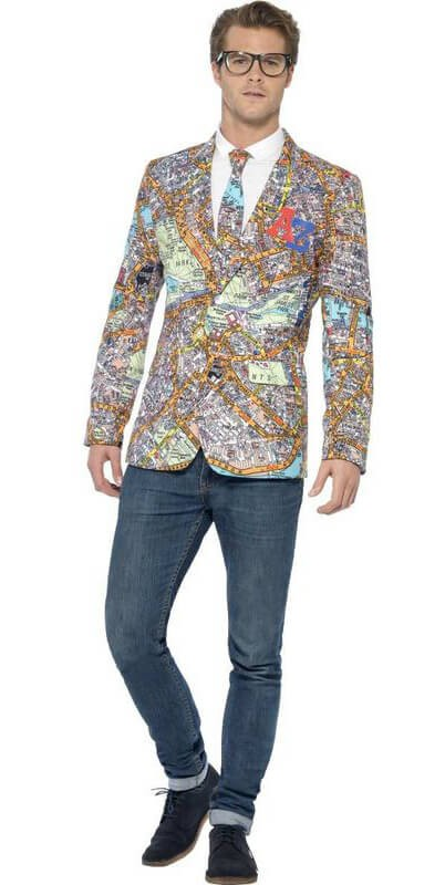Mens A-Z London Map Patterned Fancy Dress Costume