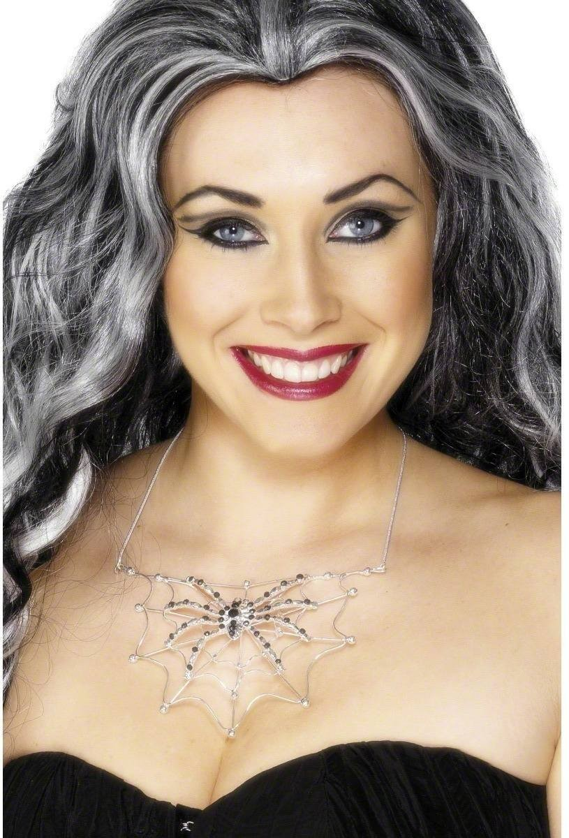 Spider With Web Rhinestone Necklace - Fancy Dress (Halloween)