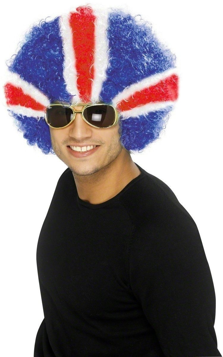 Union Jack Funky Afro Wig Fancy Dress- Red/White/Blue