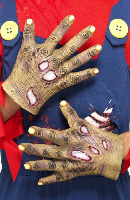 Mens Flesh Colour Decaying Zombie Latex Gloves (Fancy Dress Accessory)