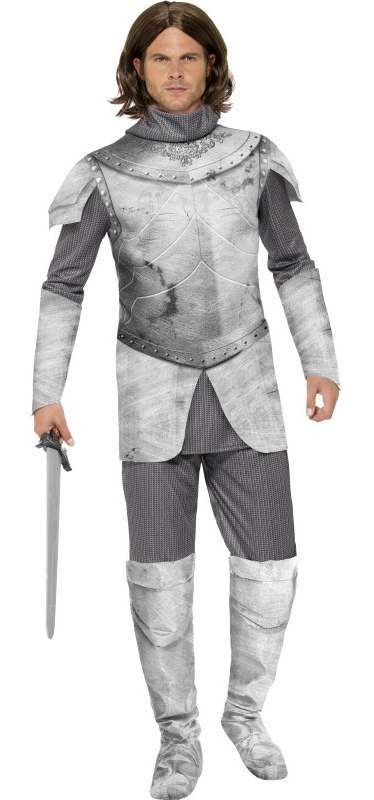 Men'S Deluxe Medieval Knight Fancy Dress Costume