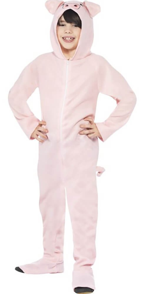Childs Pink All In One Pig Fancy Dress Costume