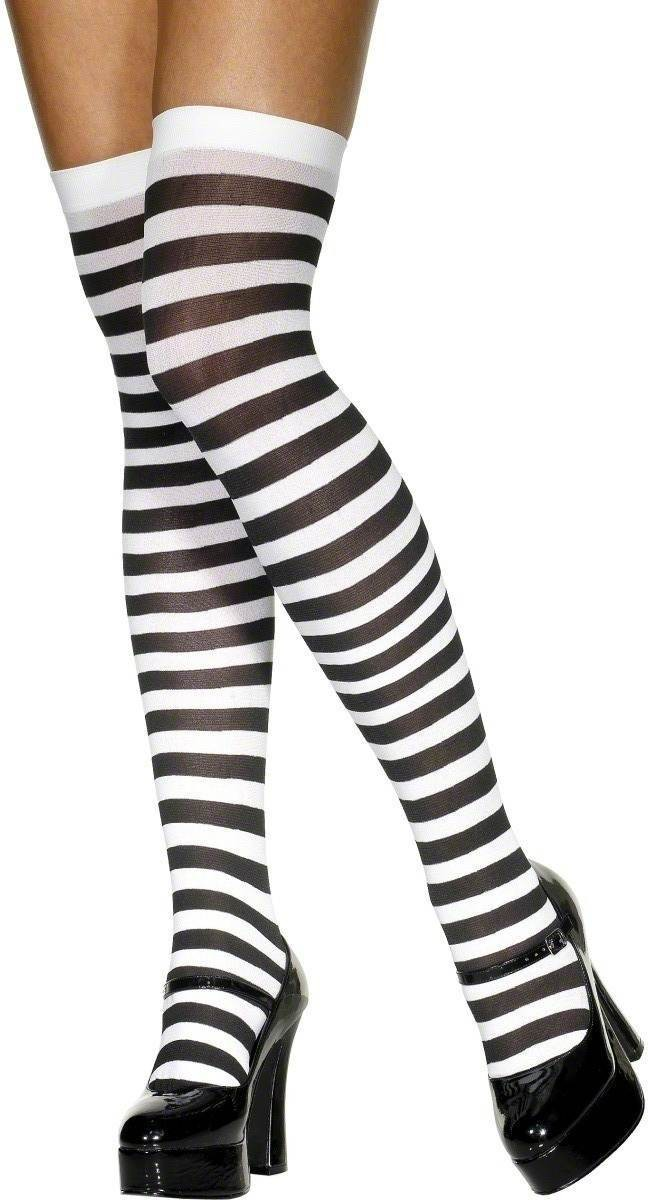 Stockings Black And White Striped - Fancy Dress Ladies