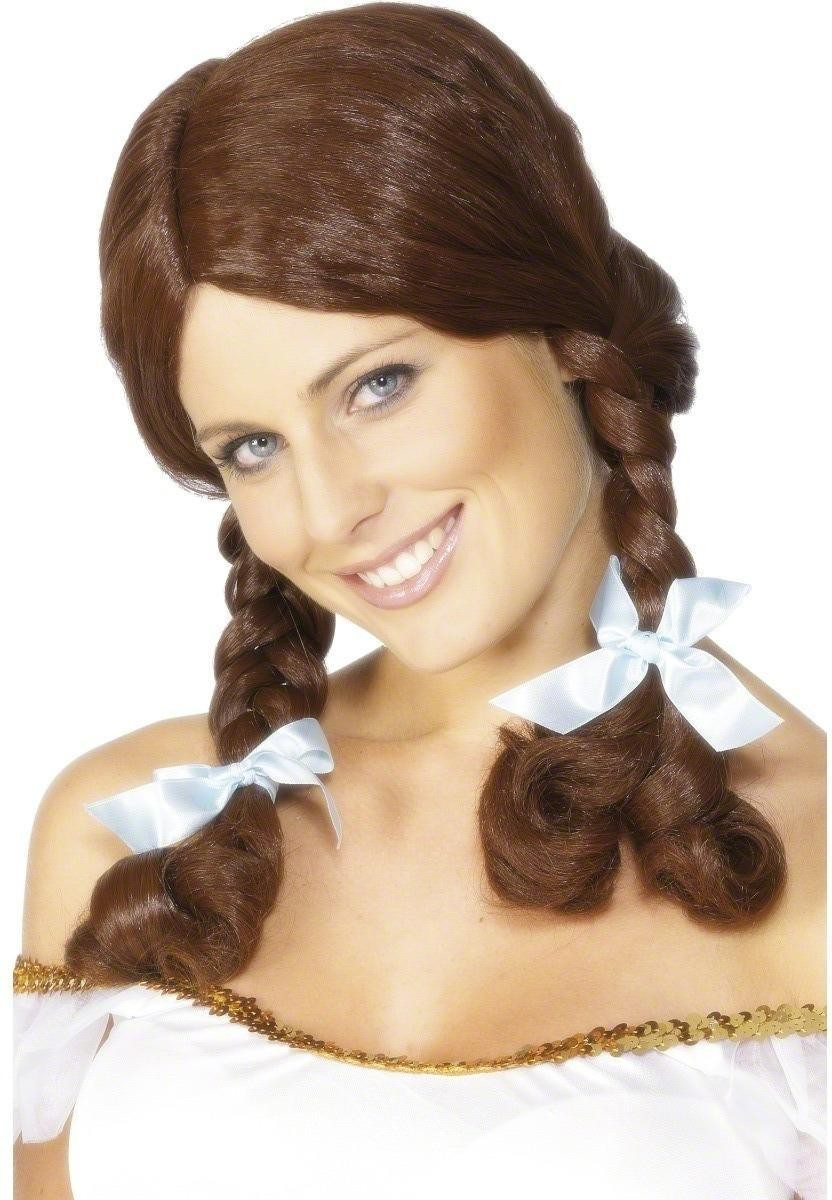 Country Girl Wig - Fancy Dress Ladies - Brown