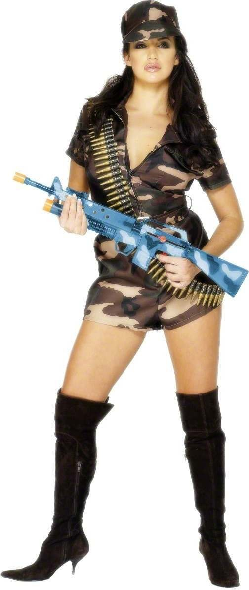 Army Girl Sexy Fancy Dress Costume Ladies (Army)
