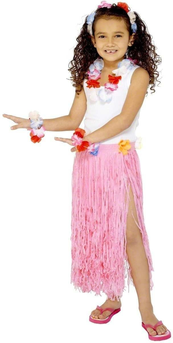 Light Pink Hawaiian Skirt - Fancy Dress Girls (Hawaiian)