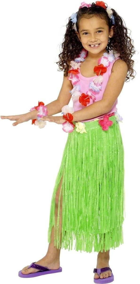 Light Green Hawaiian Skirt Fancy Dress Girls