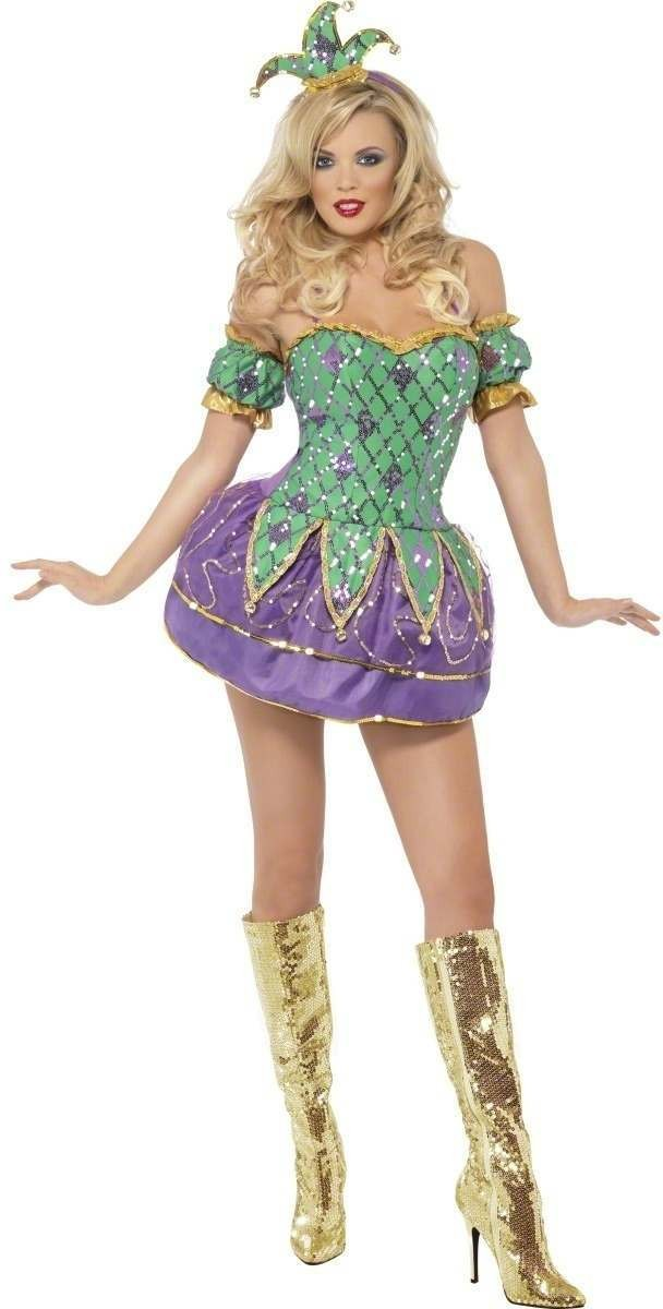 Fever Harlequin Shine Fancy Dress Size 8-10 S Ladies