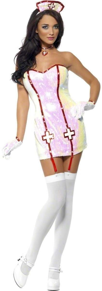 Fever Nurse Dazzle Fancy Dress Costume Ladies (Doctors/Nurses)