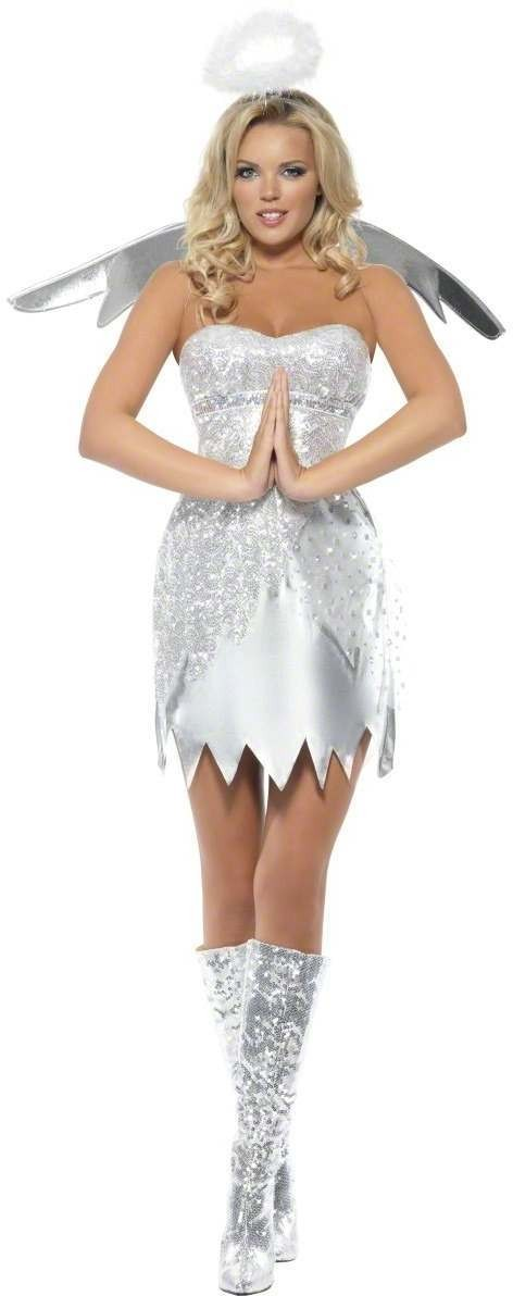 Fever Angel Shimmer Fancy Dress Costume Ladies (Christmas)