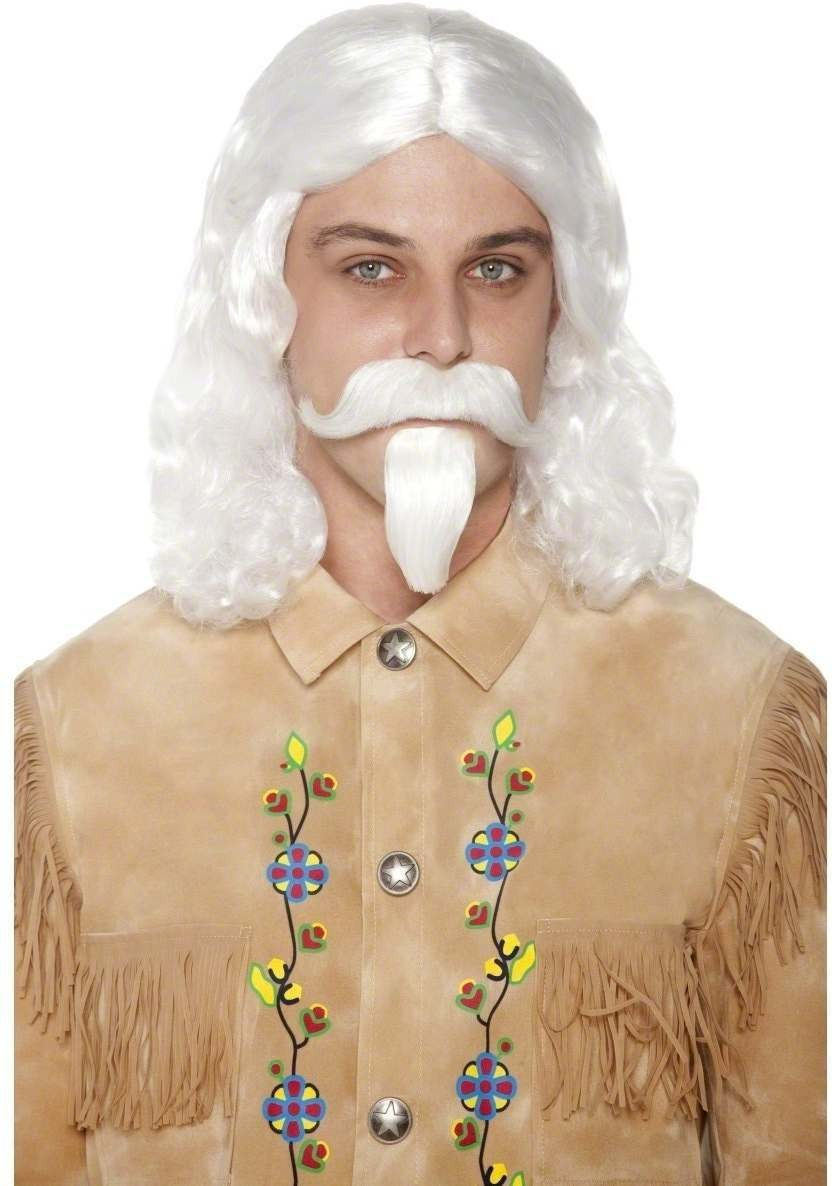 Western Authentic Buffalo Bill Wig Fancy Dress Mens - White
