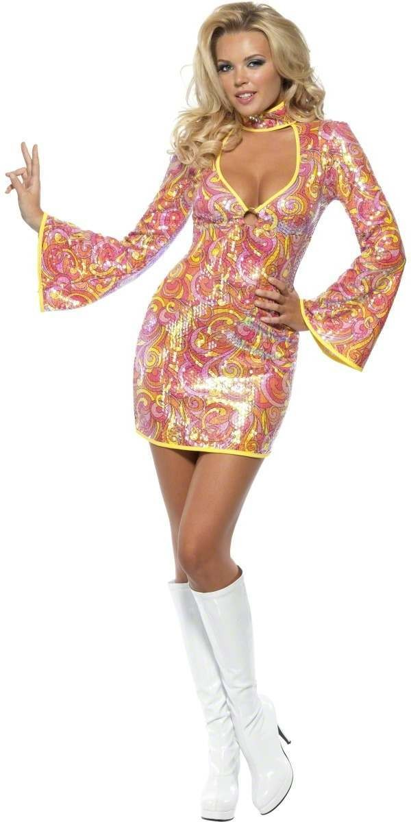 Fever Go Go Glitz 60'S Fancy Dress Costume Ladies