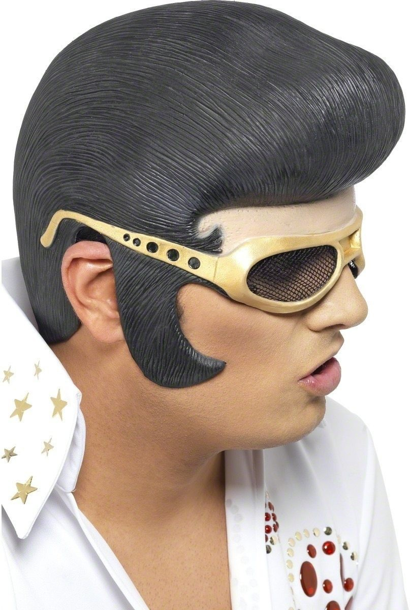 Elvis Headpiece - Fancy Dress Mens (Music) - Black
